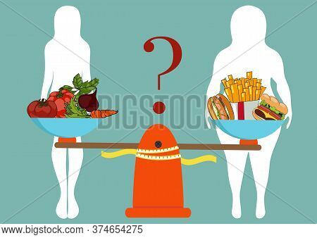 Silhouettes Of Women Thin And Thick With Vegetables And Fast Food. The Concept Of Weight Loss. Healt