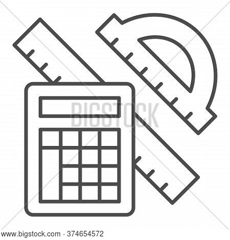 Protractor With Ruler And Calculator Thin Line Icon, Mathematics Concept, School Supplies Sign On Wh