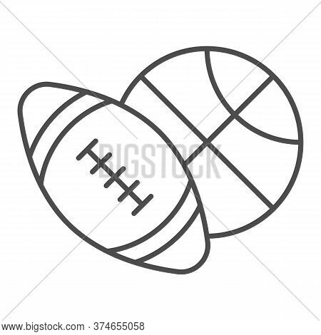 Basketball And Soccer Ball Thin Line Icon, Sports Concept, Sport Balls Sign On White Background, Bas