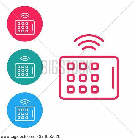Red Line Wireless Tablet Icon Isolated On White Background. Internet Of Things Concept With Wireless