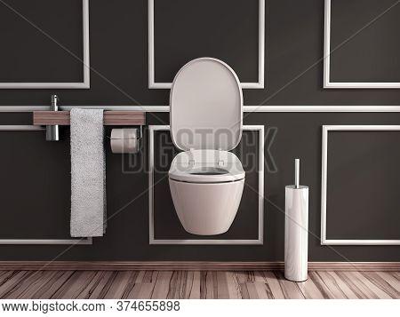 Modern Darck Tones Empty Restroom 3d Render Image