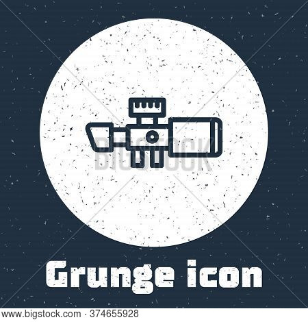 Grunge Line Sniper Optical Sight Icon Isolated On Grey Background. Sniper Scope Crosshairs. Monochro