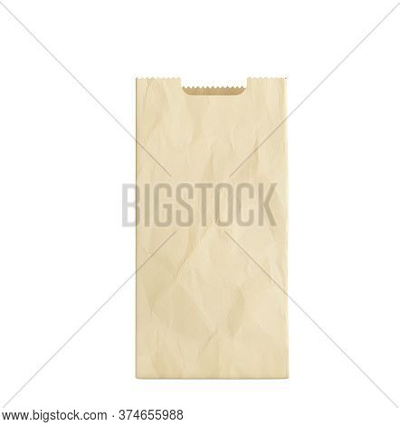 Empty Paper Bag For Products 3d Render On A Blue White No Shadow