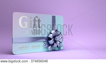 Vip Gift Card With Bow 3d Render On A Color Gradient Background
