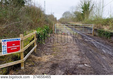 Winslow, Uk - February 22, 2020. Verney Junction, Construction Site On The Route Of New Railway Line