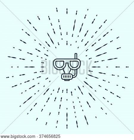 Black Line Diving Mask And Snorkel Icon Isolated On Grey Background. Extreme Sport. Diving Underwate