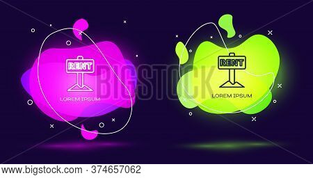 Line Hanging Sign With Text Rent Icon Isolated On Black Background. Signboard With Text For Rent. Ab