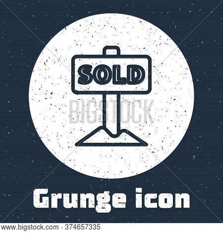 Grunge Line Hanging Sign With Text Sold Icon Isolated On Grey Background. Sold Sticker. Sold Signboa