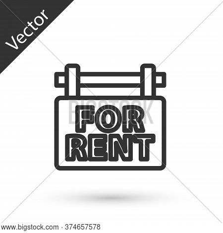 Grey Line Hanging Sign With Text For Rent Icon Isolated On White Background. Signboard With Text For