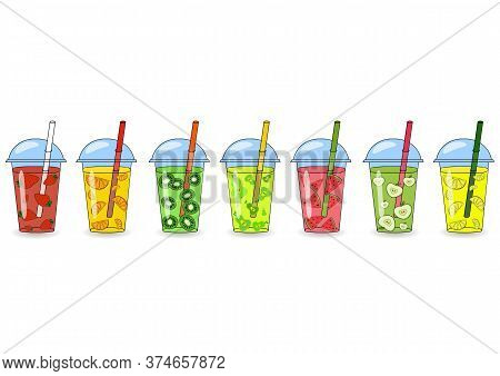 Set Of Smoothies, Juices With Different Flavors. The Concept Of A Healthy Lifestyle, Proper Nutritio