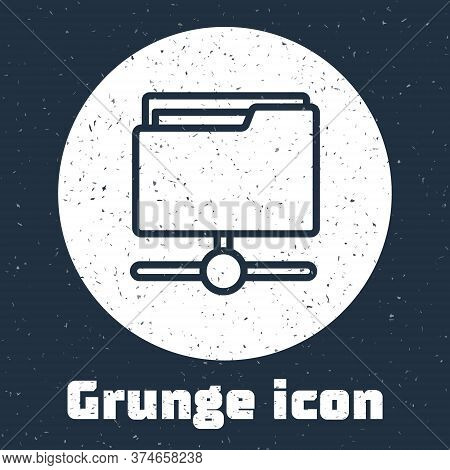 Grunge Line Ftp Folder Icon Isolated On Grey Background. Software Update, Transfer Protocol, Router,