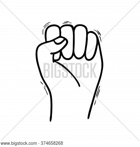 Hand In Doodle Style Isolated On A White Background. A Symbol Of Protest And Resistance. The Hand Is