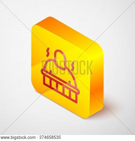Isometric Line Sauna And Spa Procedures Icon Isolated On Grey Background. Relaxation Body Care And T