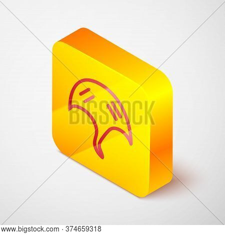 Isometric Line Stingray Icon Isolated On Grey Background. Yellow Square Button. Vector.