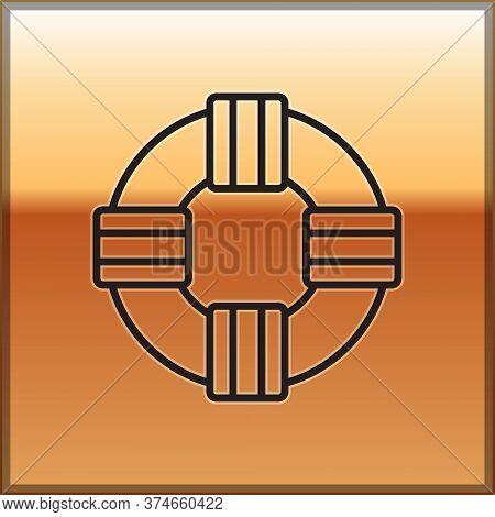 Black Line Lifebuoy Icon Isolated On Gold Background. Lifebelt Symbol. Vector.