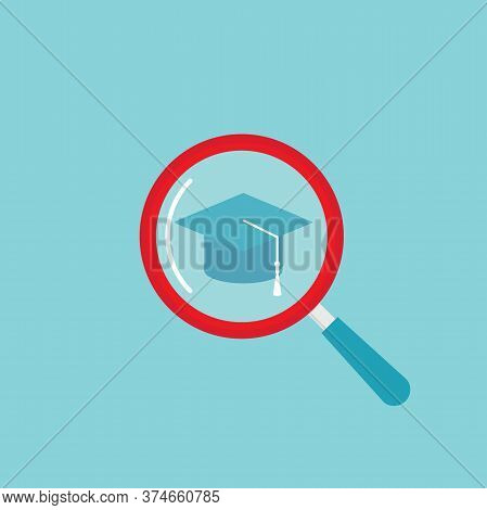 Graduation Cap Or Mortar Board And Magnifying Glass On Powder Blue Background.
