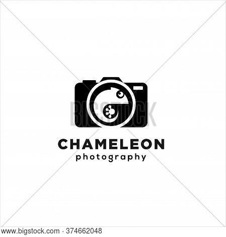 Chameleon Photography Logo Design. Chameleon Cam Logo Colorful Template .