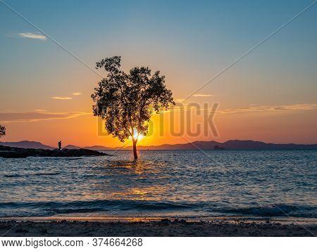 Sunset at Klong Muang beach in Krabi Thailand