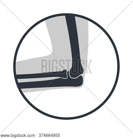Elbow Joint Icon. Symbol Human Cubit Joint In The Circle Isolated On White Background. Bones Of Hand