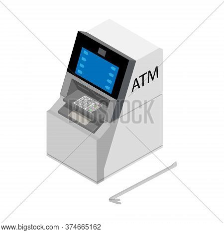 Theft Concept - Thief Stealing Money From Atm With Crowbar Crime Scene. Vector