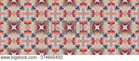 Majestic Floral Tile. Tile Japanese Geometric. Mottled Floral Border. Red, White Seamless  Decorativ