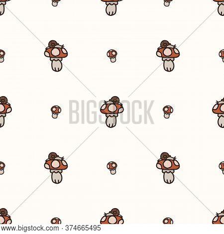 Seamless Background Snail On Toadstool Mushroom Gender Neutral Baby Pattern. Simple Whimsical Minima