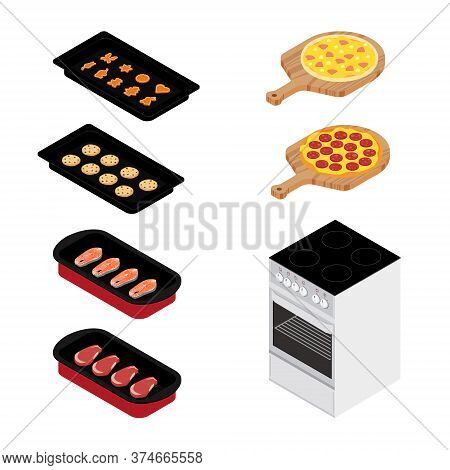 Set Of Various Plates, Forms Of Food And Kitchen Stove Isolated On White Background. Pizza, Meat, Fi
