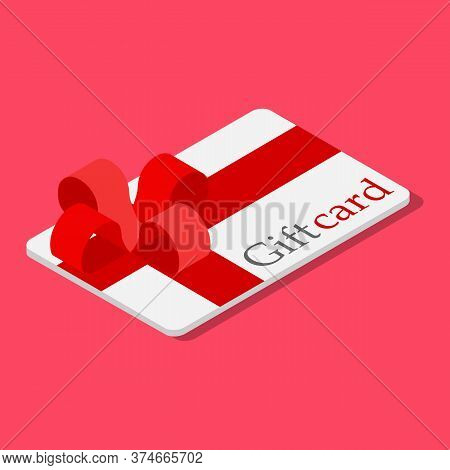 Gift Card With Red Bow And Ribbon. Vector Illustration. Gift Or Credit Card Design Template. Coupon,