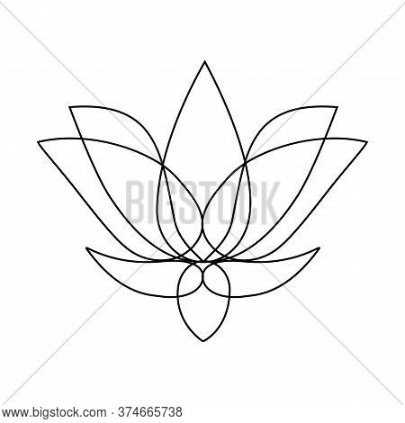 Stylized Lotus. Lotus Flower For A Logo. Black White Vector Illustration. Tattoo