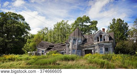 Panorama Of An Abandoned, Fallin Down House