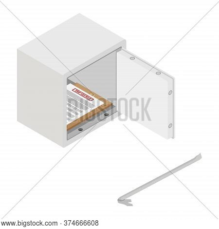 Metal Steel Money Bank Safe With Top Secret Document And Crowbar Vector Icon Isometric View. Breakin