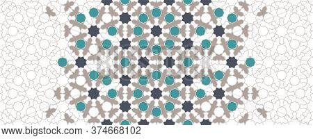 Moroccan Mosaic Wallpaper, Repeating Vector Border, Pattern, Background. Geometric Moroccan Halftone