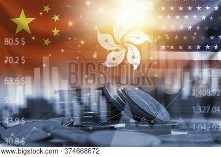 Usa China And Hong Kong Flag On Coins Stacking .it Is Symbol Of Economic Crisis During Tensions From