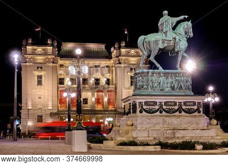 Belgrade / Serbia - November 2, 2019: Statue Of Prince Mihailo Obrenovic And The National Theater Of