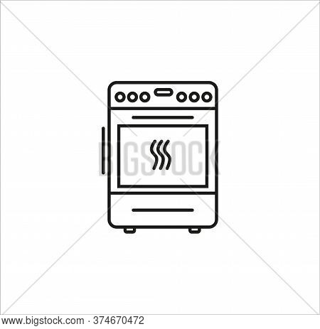 Cooker Line Art Vector Icon On White Background