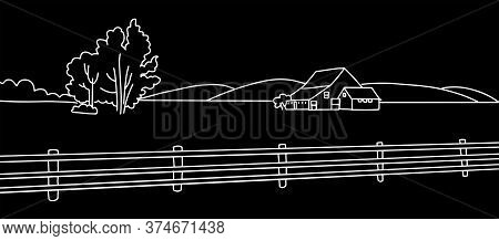 Rural Landscape With Field, Old House, Trees, Field Panorama. Chalk Drawing On The Blackboard Vector