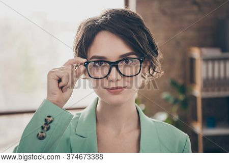 Closeup Photo Of Beautiful Business Lady Arm On Eyesight Specs Self-confident Person Chief Insurance