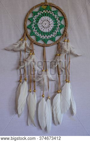 Beautiful Green Dream Catcher On White Background