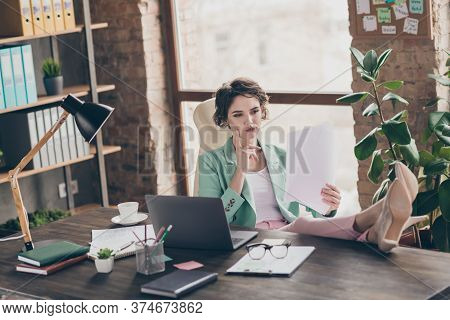 Photo Of Attractive Business Boss Lady Notebook Table Distance Home Remote Work Hold Documents Read