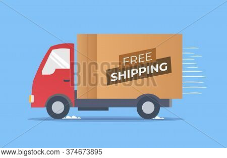 Fast And Free Shipping Delivery Truck. Delivery Truck Transporting A Cardboard Package. Vector Stock
