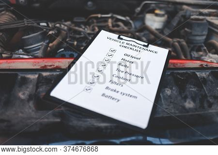 Conclusions About A Successful Inspection Lie On The Car Engine. Auto Inspection Concept