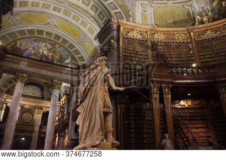 The Prunksaal Statue Center Of The Old Imperial Library For Austrians People And Foreign Travelers T