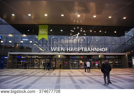 Austrians People And Foreign Travelers Walking Work At Front Of Wien Hauptbahnhof Main Railway Stati