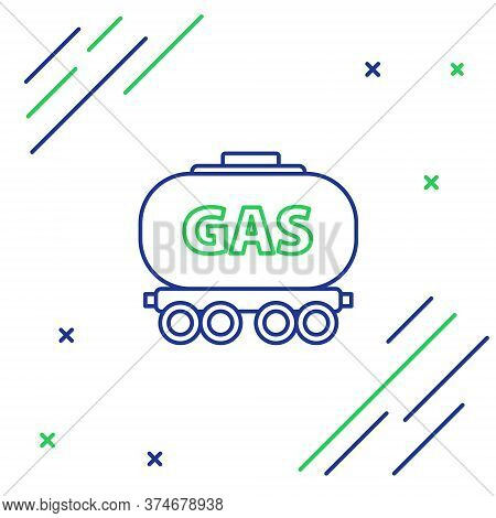 Line Gas Railway Cistern Icon Isolated On White Background. Train Gasoline Tank On Railway Car. Rail