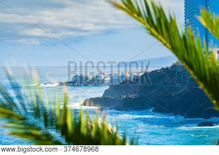 View On Ocean Shore And Colorful Buildings On The Rock In Punta Brava Through The Palm Leaves, Puert