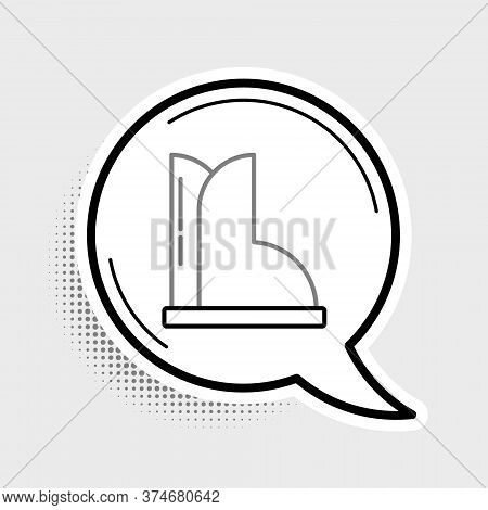 Line Waterproof Rubber Boot Icon Isolated On Grey Background. Gumboots For Rainy Weather, Fishing, G
