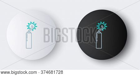 Line Detonate Dynamite Bomb Stick Clock Icon Isolated On Grey Background. Time Bomb - Explosion Dang