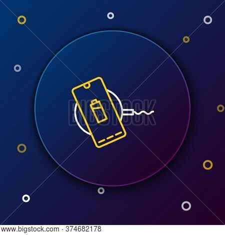 Line Smartphone Charging On Wireless Charger Icon Isolated On Blue Background. Charging Battery On C