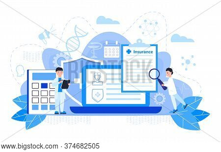 Healthcare Insurance Vector Concept, People With Doctor Fill Health Online Form Insurance. Help Agen