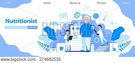Nutritionist Concept Vector For Homepage. Obesity Problems Of Senior. Doctors Prescribe A Diet, A He